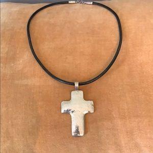 Jewelry - Sterling Silver Cross on Leather Choker